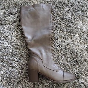 Torrid Dark Taupe Lace Up Knee High Boot 9.5 Wide